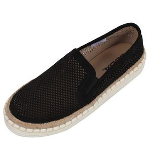 Black Perforated Espadrille Rubber Sole Loafer
